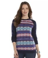 NWT Womens Chaps Crew Neck Blue Fair Isle Front Sweater Sz XL Extra Large