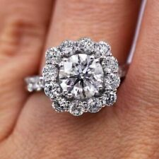 Ring in Real 14K White Gold Certified 2.95Ct Round White Diamond Halo Engagement
