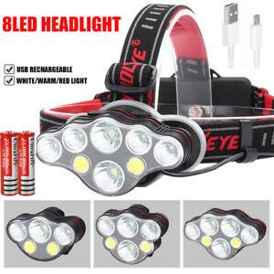 Hell 130000LM stirnlampe T6 LED Kopflampe FACKEL TASCHENLAMP Headlamp+USB Kabel