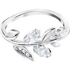 Anello DONNA Swarovski MAYFLY RODIO 5441205 5423183 52 55 ring Foglie cristalli