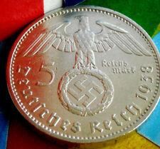 1938-A NAZI BIG SWASTIKA GERMAN 5 Mark .900 SILVER COIN-WW2 GERMANY 5 ReichsMark