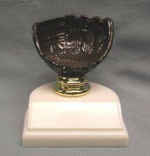 brown Baseball trophy mitt holder on white base