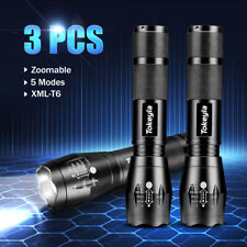 3 x LED Flashlight Super Bright 50000LM 18650 Zoomable Waterproof Torch