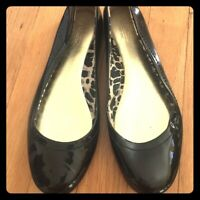 Coach Black Patent Ballet Flats with Turnlock Size 8