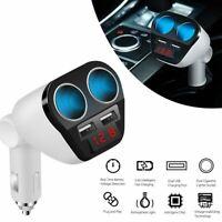 2 Way Car Cigarette Lighter Splitter Multi Socket Dual USB Plug Charger 12V-24V