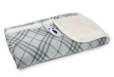 "Biddeford Gray Plaid Heated Sweater Knit Sherpa Throw Blanket 50"" x 62"" - NEW"