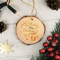Engraved Wooden Christmas Bauble Personalised - Baby's First Christmas