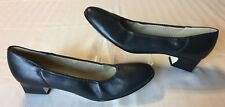 Naturalizer Women's Blue Leather Stretch Block Heel Classic Pumps Shoes 9.5 AAA