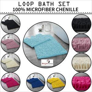 2 Piece Loop Bath Mat Pedestal Set Ultra Soft Bathroom Rug Anti Slip Toilet Rug