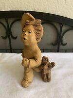"Vintage LEE BORTIN ORIGINALS ""Boy with Dog"" CLAY Figurine Collectible"