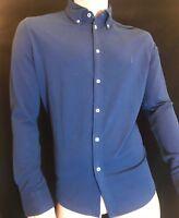 BNWT POLO RALPH LAUREN Knit Oxford 100% Cotton Slim Shirt Blue Size XL RRP £90