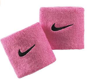 Nike Wristbands Tennis Set Of 2 Baby Pink Swoosh Sports Sweat Stretch ONE SIZE