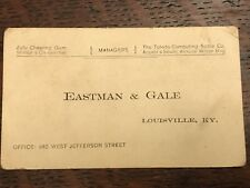 1910s EASTMAN & GALE Louisville KY Toledo Scales Zula Chewing Gum Business Card