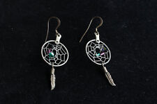 Vintage Sterling Silver Dream Catcher Feather Dangle Earrings Size: 5.7cm x 2cm