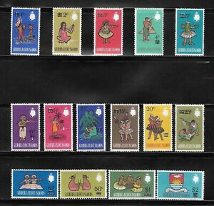 1966 SET GILBERT AND ELLICE ISLANDS POSTAGE STAMPS - SG 110-124 MLH COMMONWEALTH