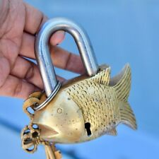 Vintage Fish Bronze Padlock Carved Antique rustic working lock key mid century