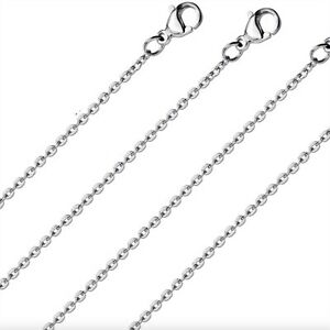Silver Cable Chain 2mm Stainless Steel Classic Necklace 45-60CM Pendants Charms