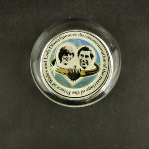 Prince Charles & Lady Diana Marriage 1981 Glass Paperweight