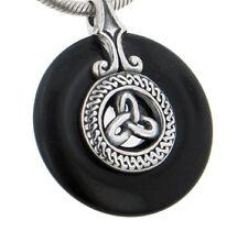 Sterling Silver Celtic Triskele Knot on Black Onyx Disc Slide Pendant