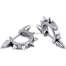 Spike Cool Stainless Steel Earrings Hip Hop Mens Awl Taper Huggie Hoop Ear Cuff