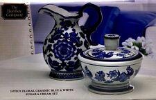 Sugar Bowl and Creamer Set 2pc Ceramic Blue White Floral The Bombay Company New