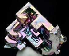 Iridescent Bismuth Rainbow Hopper Crystal Cluster Mineral Specimen w/info card