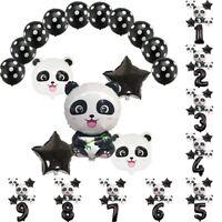 15pc Black Latex Balloon Set Panda Foil Balloon Kids Birthday Party Decoration