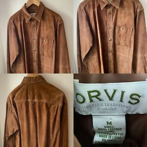 ORVIS TAN LEATHER SUEDE OVER SHIRT SIZE M
