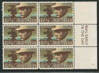 U.S., Scott #1555, D.W. Griffith, M.E. Block of 6, with Printing Shifted