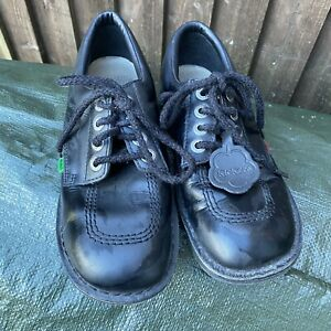 Ladies Girls Lace Up Flat Black Kickers Shoes Size 7