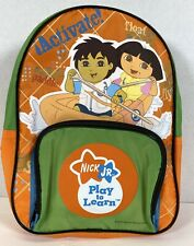 Nick Jr. Dora and Diego Toddler Backpack 8X10 New Orange And Green 2 Pockets
