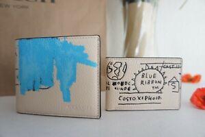 NWT Coach C5444 X Jean-Michel Basquiat Men's 3-In-1 Wallet Leather Ivory Multi