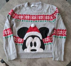 Christmas Jumper Age 11-12 Mickey mouse Disney store grey XMAS