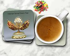 Faberge Egg Square Coaster Set, Easter Eggs, Easter Gifts, 4 pc Set Cork Backing