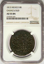 1813 8 REALES MEXICO WAR OF INDEPENDENCE OAXACA - NEW SLAB KM 234 RARE NGC AU55!