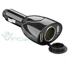 Caricabatterie adattatore 2 porte USB+accendi sigari nero per LG G2 D802 WF1