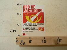 STICKER,DECAL SP SOCIALISTISCHE PARTIJ RED DE POSTBODE PLAK DE STICKER OP DE BUS