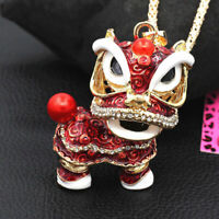 Betsey Johnson Lovely Enamel Crystal Lion Dance Pendant Chain Necklace