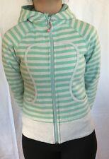 LULULEMON Size 4 Scuba Remix Hoodie Jacket Mint Green Stripe Gray  Cotton