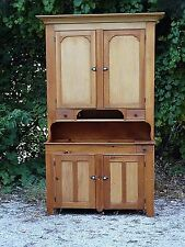 Primitive Antique Maple & pine America country Cupboard Pantry cabinet Dry sink