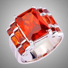 Gorgeous Huge Big Garnet Gemstone Silver Wedding Engagement Ring Size 9 Gifts
