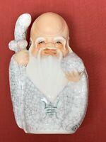"""Vintage Crackle Glaze Ceramic Asian Chinese Japanese Wise Man Longevity 5.5"""""""