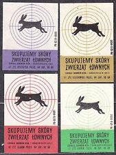 POLAND 1967 Matchbox Label - Cat.Z#824I/II,IV/V We buy leather, wild game.