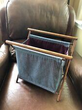 Yarn basket holder folding blue plaid wooden
