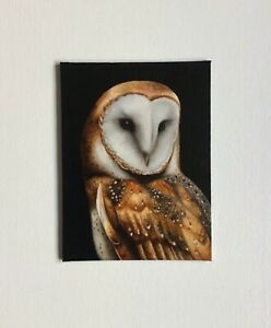 Original Oil Painting of a Barn Owl listed by the artist Lorna Sharkey