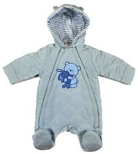 Newborn, 0-3, 3-6 Months Boys Hooded Baby Quilted All In One Snowsuit Pram suit