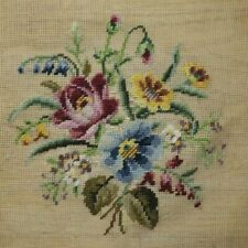 Preworked Blue Pink Yellow Flower Bouquet Needlepoint Completed Finished Wool