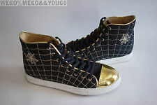 "CHARLOTTE OLYMPIA ""WEB"" black canvas metallic high tops sneakers 38 US 8"