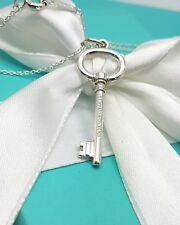 """Tiffany & Co  Sterling Silver Oval Key Charm Pendant on 16"""" chain necklace"""