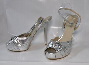 "Colin Stuart silver metallic hi-heel sandal - Size 11 w/5.75"" heel"